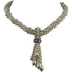 Rousselet Pearl and Rhinestone Necklace