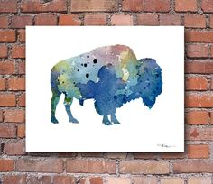 Buffalo Abstract Watercolor Painting Bison Art Print by Artist DJ Rogers Watercolor Painting Techniques, Abstract Watercolor Art, Watercolor Sunflower, Watercolor Print, Watercolor Tattoos, Watercolor Ideas, Buffalo Painting, Buffalo Art, Buffalo Logo