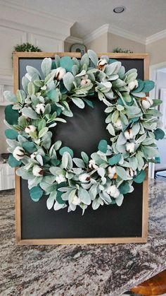 Rustic farmhouse cotton, lamb's ear, and eucalyptus wreath | Cotton Wreath | Farmhouse Home Decor | Rustic Home Decor #affiliate