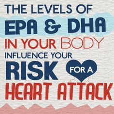 The levels of EPA & DHA in your body influence your risk for a heart attack! Learn more: http://www.wileysfinest.com/heart-health/