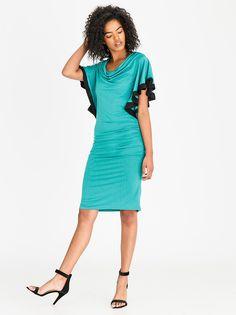 de7a0bb4c73fc2 Edit Cowl Neckline Dress with Frills Turquoise Necklines For Dresses, No  Frills, Pencil Dress