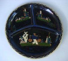 ":D  Old vintage Mexican Tlaquepaque sectioned divided black plate 11"" dliam"