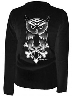 "Women's ""Owl Tattoo"" Cardigan by Pinky Star (Black)"