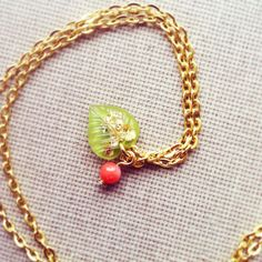 Tiny Leaf Resin Pendant with Coral Bead Resin by lowelowejewelry, $20.00