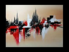 Abstract painting / How to use palette knife / Create texture in Acrylics / Demonstration - YouTube