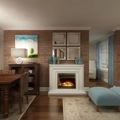 Dining Room Brick Wall Design, Pictures, Remodel, Decor and Ideas