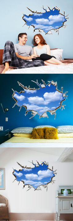 Large removable wall stickers wholesale decorative bedroom wall warm TV background stickers blue sky AY8015