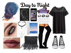 """""""Day to Night"""" by theycallmekaye ❤ liked on Polyvore featuring H&M, Converse, Topshop, ASOS, Noir Jewelry and LORAC"""