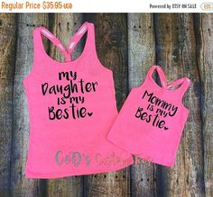 ON SALE Mommy and Me Tanks - Mom and Daughter Tanks - Mommy Is My Bestie - Daughter Is My Bestie Tank - Mommy and Daughter Shirts - Best Fri by CDCustomTees on Etsy https://www.etsy.com/listing/293377891/on-sale-mommy-and-me-tanks-mom-and