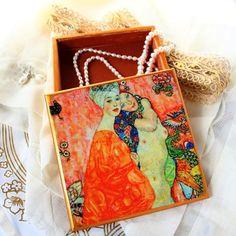 Wooden Jewelry Box Trinket Box Gustav Klimt by ArtKaleydoskop2015