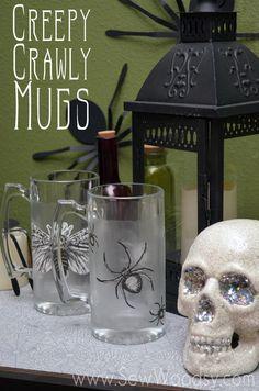 Creepy Crawly Mugs from SewWoodsy.com #MarthaStewartCrafts #MSHalloween #Halloween #Crafts