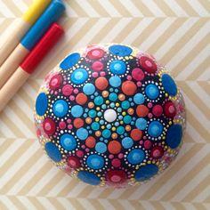 Mandala Stone Hand-Painted Wild Summer by ChelseyLakeArt on etsy