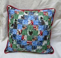 """Handmade Christmas cotton pillow cover 16"""" trip around world pattern - pinned by pin4etsy.com"""