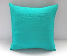 STOCK CLEARANCE 40% off- Aqua Blue silk pillow cover 18 inch throw pillow