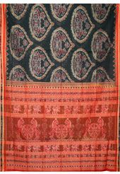 This black sambalpuri cotton handloom saree uniquely crafted with self weaving work. Matching blouse is available with this. Slight color variation is possible.