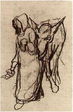 Vincent van Gogh Drawing, Pencil Auvers-sur-Oise: 1890 Van Gogh Museum Amsterdam, The Netherlands, Europe F: None, JH: Add. 17 Image Only - Van Gogh: Woman with a Donkey