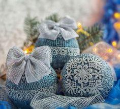 Новогодние шары. Елочное украшение «Зимние кружева» - елочные шары,елочные украшения