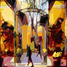 GalerieDuSoleil_paintings by Oana Lauric Terraces, Artist Painting, Brush Strokes, Landscape Paintings, Separate, Cities, Buildings, Original Art, Places To Visit