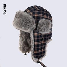 ==> [Free Shipping] Buy Best BKONE Grid Pattern Plaid Bomber Hat for Men Women Winter Faux Rabbit Fur Earflap Trapper Hat Russia Thermal Snow Cap Online with LOWEST Price | 32745984307