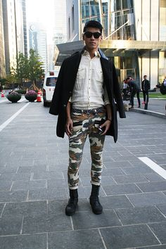 Street Style Archives - Best Dressed Man on the Planet Best Dressed Man, Stylish Men, Seoul, Camouflage, Men Dress, Nice Dresses, Men's Fashion, Menswear, Punk