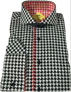 Steven-Land-Mens-100-Cotton-Houndstooth-Cutaway-Collar-Dress-Shirt-TS532-Black