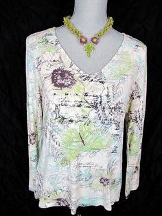 CHICOS 1 M Top Off White Green Blue Floral Garden Knit Shirt Butterfly Blouse #Chicos #KnitTop #Casual#style#fashion#trend#floral#top#fall#sale#deal#everyday#chicosforsale#resale#chicosstyle#dressitup#adorable#gottohaveit#socute#casual#arty#resort#consignment#garden#butterfly#boho