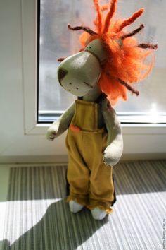 """Купить """"Огнегривый лев"""" текстильная игрушка - рыжий, лев, тигр, текстильная кукла, текстильная игрушка"""