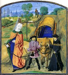"""A bullock cart, led by """"Raison"""" and """"Enten Dement ', traveling under the protection of the Lady gravite des Sens"""" by a peaceful southern Dutch landscape with walled city.  Thumbnail Les Douze Ladies Rhétorique, Bruges, 1473-75 .  Cambridge University Library, Ms. Nn. 3.2., Fol. 29v. By permission of the Syndics of Cambridge University Library"""