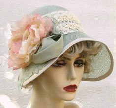 Wide Brim 20's Hat Summer Garden Tea Party Cloche Mint Green Fabric