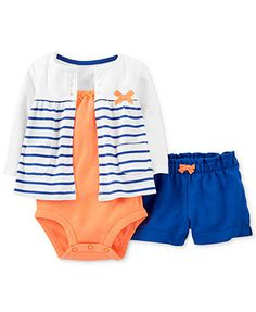 Carter's Baby Girls' 3-Piece Cardigan, Bodysuit & Shorts Set