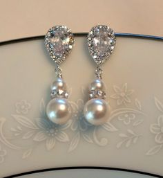 Sale 10 OFF Bridal Earrings Pearl Earrings Crystal by PoetryBridal, $31.95