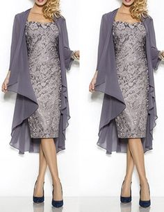 Grey Sheath Lace Mother of the Bride Dress with Coat