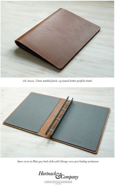 A4 portrait presentation binder. 35mm single piece, tumbled finish, Italian veg tanned leather. Inner covers finished in plate grey book cloth