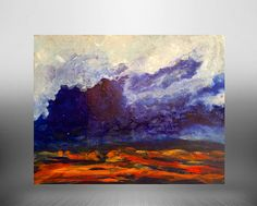 Blue abstract painting landscape modern by BryanAnthonyStudio
