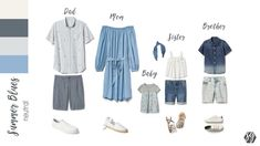 family portrait outfits, blue and grey Casual Family Photos, Family Pictures What To Wear, Summer Family Pictures, Large Family Photos, Fall Family Photo Outfits, Beach Family Photos, Family Pics, Family Posing, Family Photography Outfits