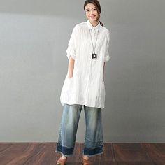 9a4e8ef426 Summer Women Literature Loose White Shirt