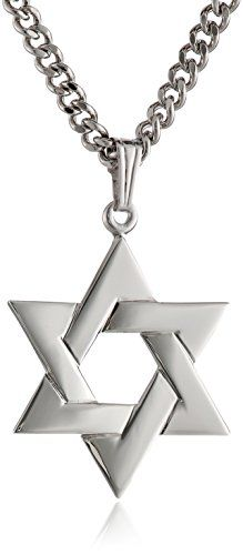 eb3429a9703b Men s Sterling Silver Star of David Pendant with Stainless Steel Chain