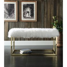 Wool Clear Acrylic Bench - A Collection by Anglina - Favorave