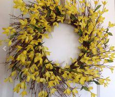 Spring Wreath Forsythia Door Wreath Ready to ship by sunnydayz5