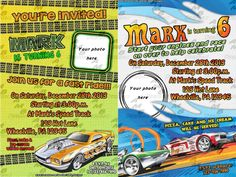 """Hot Wheels Invitations & matching Party Supplies available .This invitation in the Hot Wheels theme will """"WOW"""" your party guests. Customized just for you; party supplies to match are available. 16 different design styles to choose from. Party Plates, Party Cups, Diy Party, Party Favors, Custom Party Invitations, Disney Scrapbook, Party Guests, Design Styles, Hot Wheels"""