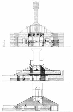 Venturi Scott Brown, Vanna Venturi House, Early Schemes, Chestnut Hill, Philadelphia, Pennsylvania, 1962