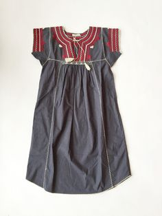 Ulla Johnson Pia Dress - Ink - MILLE; Oaxacan hand embroidered beautiful tunic dress. Navy with white and magenta detailing and tie at neck. Pockets at both sides