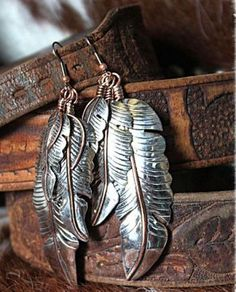 VINTAGE REVIVAL STERLING THREE FEATHER EARRINGS WITH COPPER ACCENTS from Cowgirl Kim