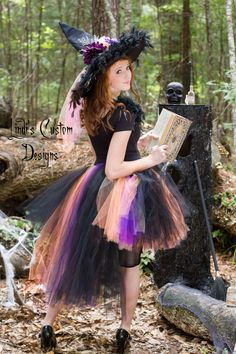 Witch Hi Low Tulle Tutu Costume for Girls, Teens, Adults by Lindi's Custom Designs on Etsy