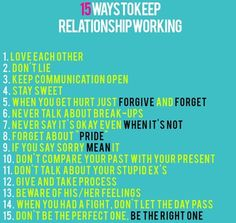 How to keep a relationship working?