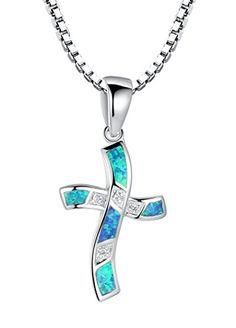 Arco Iris Schmuck Sterling Silber Kreuz mit Erstellt Blau und Grün