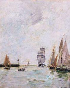 Trouville. Les jetées, marée haute, huile sur panneau, 27 x 22 cm. Signé en bas à droite. Vers 1888-1895. Collection privée.