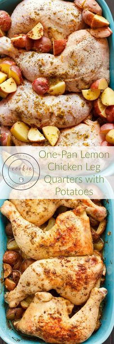 One-Pan Lemon Chicken Leg Quarters with Creamer Potatoes - The Cookie Writer These one pan lemon chicken leg quarters with Creamer potatoes is the perfect back-to-school meal! Little prep and cooks in one dish! Chicken Legs, Lemon Chicken, Baked Chicken, Italian Chicken, Roasted Chicken, Dinner Entrees, Dinner Recipes, Dinner Ideas, Supper Ideas