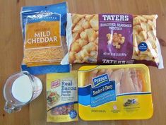 Cheesy Crockpot Chicken 1 32oz bag Tater tots 1 3oz bag bacon bits (REAL) 1lb boneless, skinless chicken breast, diced 2 cup shredded cheddar 3/4 cup milk salt & pepper - to taste spray crockpot with nonstick spray. Layer 1/2vtater tots, 1/3 bacon  add chicken, salt and pepper. layer 1/3bbacon and cheese. layer rest taterbtots, bacon and cheese. Pour milk in. Cook on low 4-6 hours