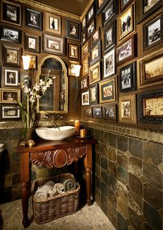 bathroom picture walls - dark stone wainscot bath with elaborate Victorian style picture walls by Terrie Hall - houzz via atticmag